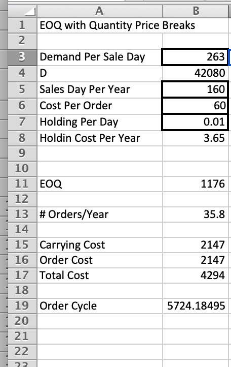 1 Eoq With Quan Y Price Breaks 2 3 Demand Per Sale Day  Sales