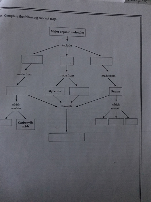 Organic Molecule Concept Map.Solved Complete The Following Concept Map Chegg Com