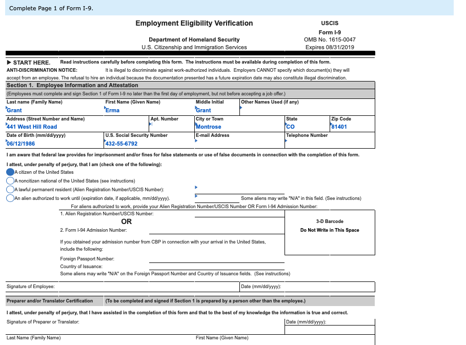 form i-9 2019 instructions  Solved: Required Complete The L-11 For Employment At Erma J ...