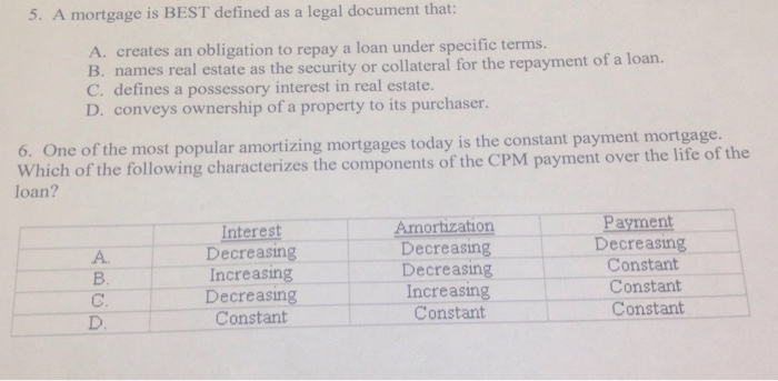 Solved A Mortgage Is BEST Defined As A Legal Document - Real estate legal documents