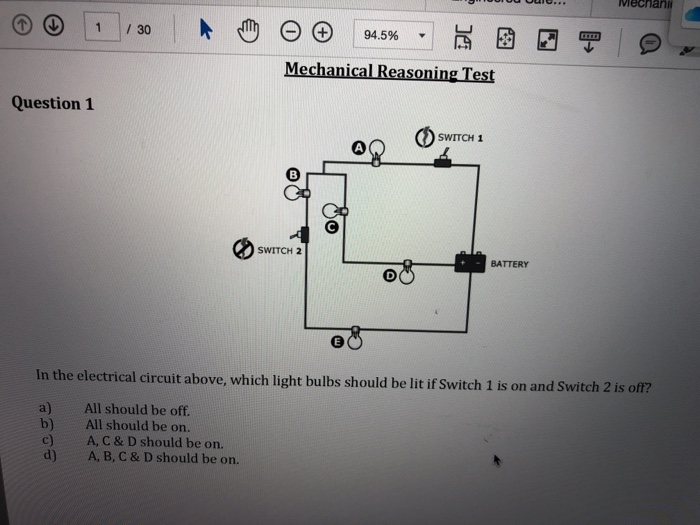 Solved: Mechanical Reasoning Test Question 1 SWITCH 1 SWIT... | Chegg.comChegg