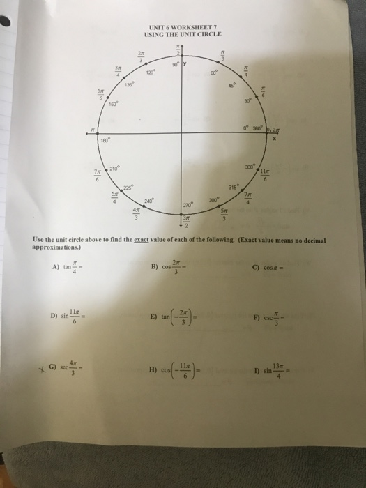 Solved: UNIT 6 WORKSHEET 7 USING THE UNIT CIRCLE 3or 120 ...