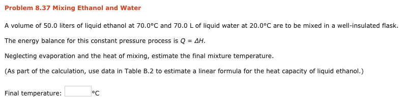 Solved: Problem 8 37 Mixing Ethanol And Water A Volume Of