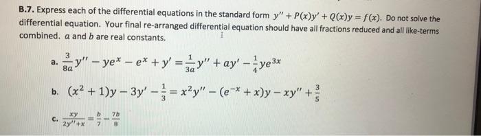 Solved Of The Differential Equations In The Standard Form