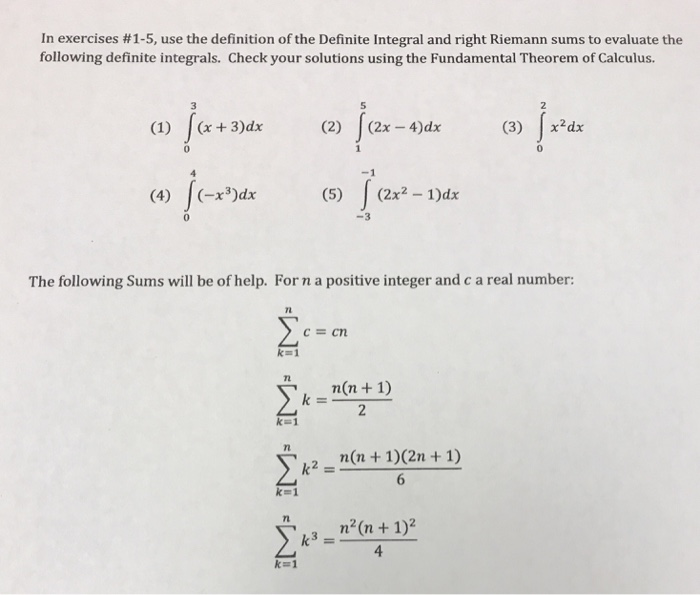 Solved: Use The Definition Of The Definite Integral And Ri
