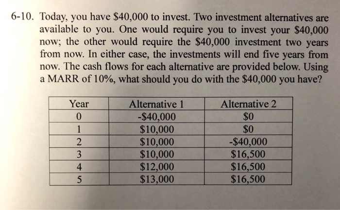 Solved: 6-10  Today, You Have $40,000 To Invest  Two Inves