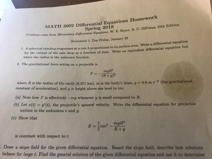 Solved: MATH 3002 Differential Equations Homework Spring 2