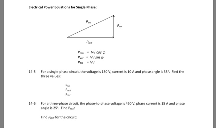 Solved: Electrical Power Equations For Single Phase: Ptot