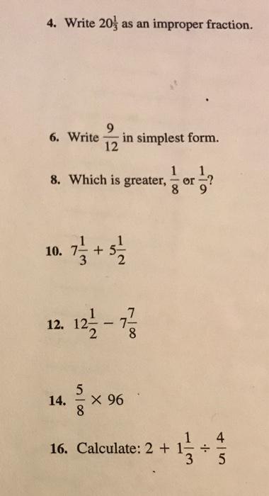 Solved: Write 9 9/9 As An Improper Fraction. Write 9/92 I ...