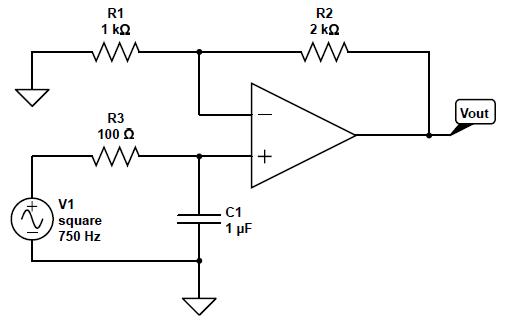 R1 1 kQ R2 Vout R3 100 Ω V1 square 750 Hz