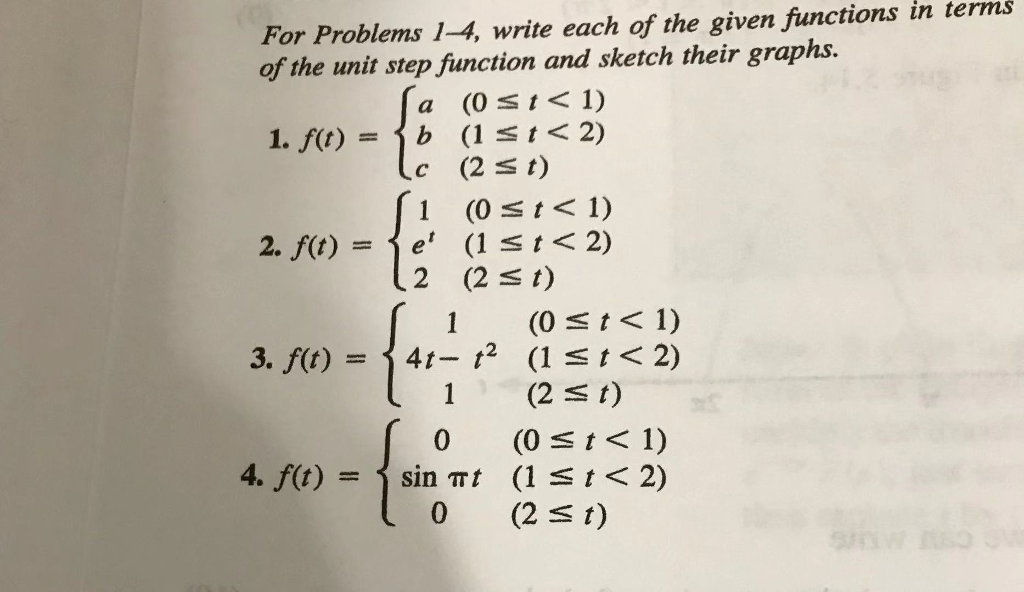 Solved: For Problems 1-4, Write Each Of The Given Function