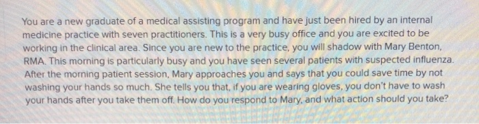 Solved: You Are A New Graduate Of A Medical Assisting Prog