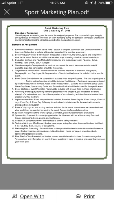 Solved: L Sprint LTE 11:25 AM × Sport Marketing Plan pdf S