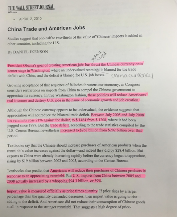 THE WALL STREET JOURNAL APRIL 22010 China Trade And American Jobs Studies Suggest That