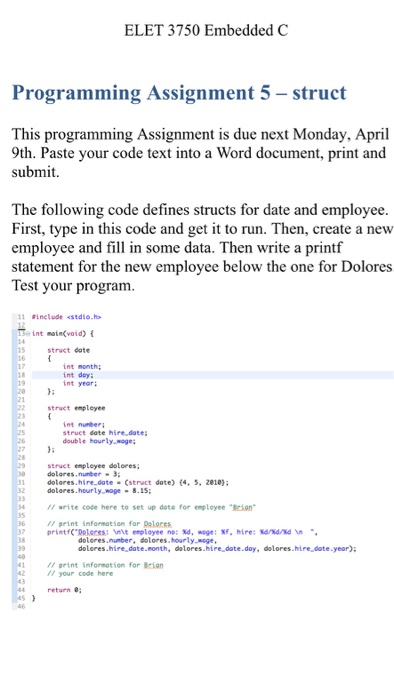 ELET 3750 Embedded C Programming Assignment 5- Str    | Chegg com