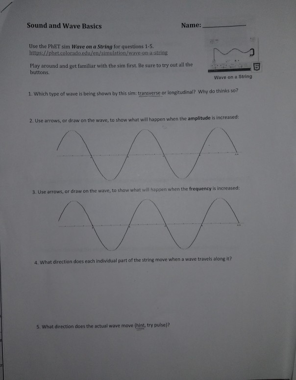 Solved: Sound And Wave Basics Name: Use The PhET Sim Wave ...