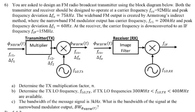 6) you are asked to design an fm radio broadcast transmitter using the  block diagram