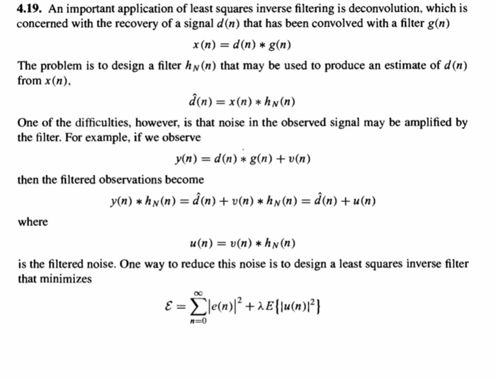 Solved: 4 19  An Important Application Of Least Squares In