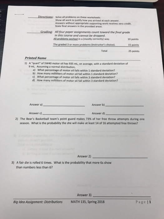 Solved: Directions: Solve All Problems On These Worksheets