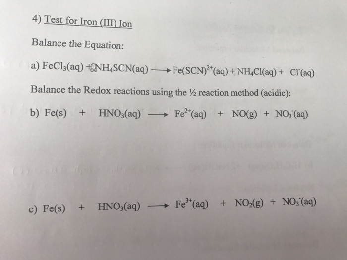 Solved Test For Iron Iii Ion Balance The Equation Fecl