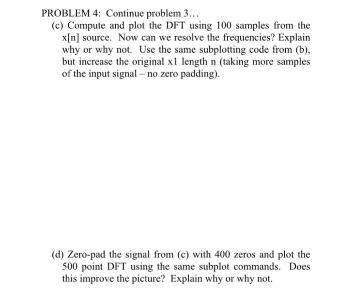 M4: Continue Problem 3 (c) Compute And Plot The DF