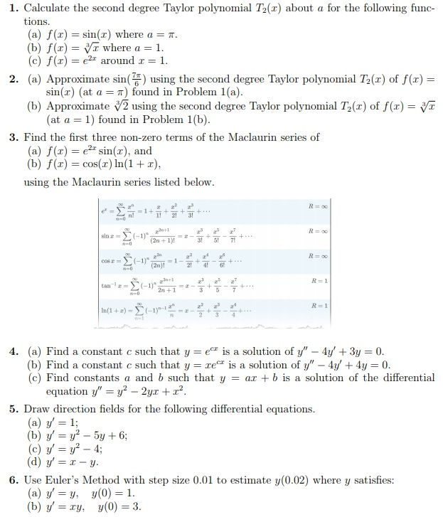 Solved: 1  Calculate The Second Degree Taylor Polynomial T