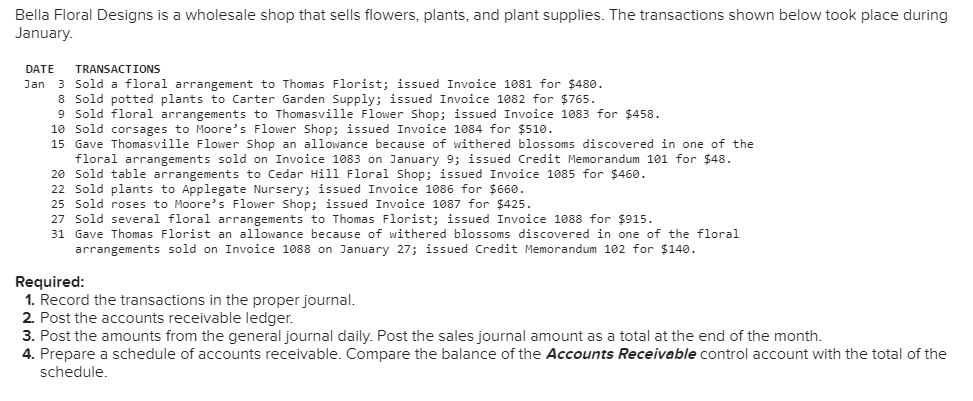 Bella Floral Designs is a wholesale shop that sells flowers, plants, and plant supplies. The transactions shown below took place during January DATE TRANSACTIONS Jan 3 Sold a floral arrangement to Thomas Florist; issued Invoice 1081 for $480 8 Sold potted plants to Carter Garden Supply; issued Invoice 1082 for $765 9 Sold floral arrangements to Thomasville Flower Shop; issued Invoice 1083 for $458 10 Sold corsages to Moore s Flower Shop; issued Invoice 1084 for $510 15 Gave Thomasville Flower Shop an allowance because of withered blossoms discovered in one of the floral arrangements sold on invoice 1083 on January 9; ǐssued Credit Memorandum 101 for $48 20 Sold table arrangements to Cedar Hill Floral Shop; issued Invoice 1085 for $460 22 Sold plants to Applegate Nursery; issued Invoice 1086 for $660 25 Sold roses to Moore s Flower Shop; issued Invoice 1087 for $425 27 Sold several floral arrangements to Thomas Florist; issued Invoice 1088 for $915 31 Gave Thomas Florist an allowance because of withered blossoms discovered in one of the floral arrangements sold on Invoice 1088 on January 27; issued Credit Memorandum 102 for $140 Required: 1. Record the transactions in the proper journal 2. Post the accounts receivable ledger. 3. Post the amounts from the general journal daily. Post the sales journal amount as a total at the end of the month 4. Prepare a schedule of accounts receivable. Compare the balance of the Accounts Receivable control account with the total of the schedule