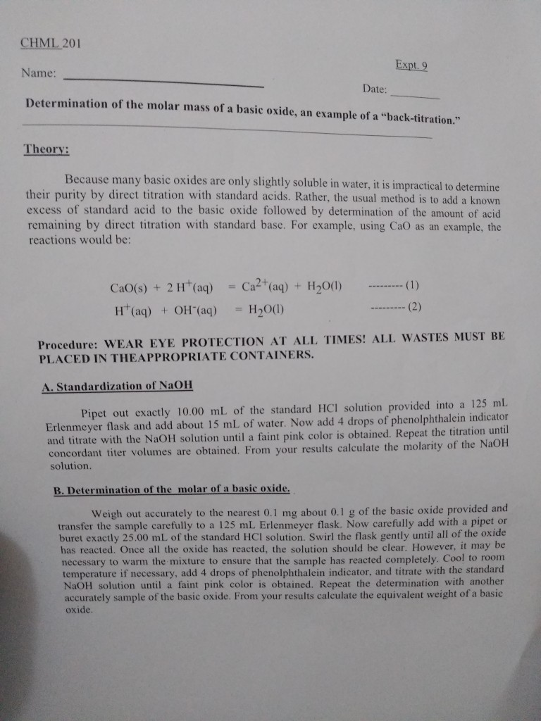titration discussion lab report