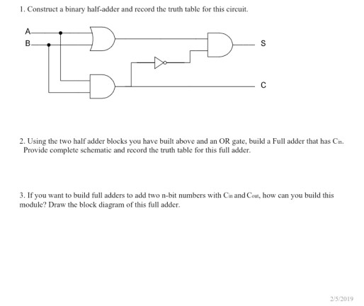 Cool Solved 1 Construct A Binary Half Adder And Record The Tr Wiring Cloud Hisonuggs Outletorg