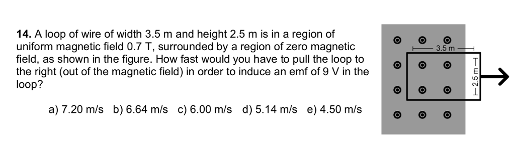Solved: 14  A Loop Of Wire Of Width 3 5 M And Height 2 5 M