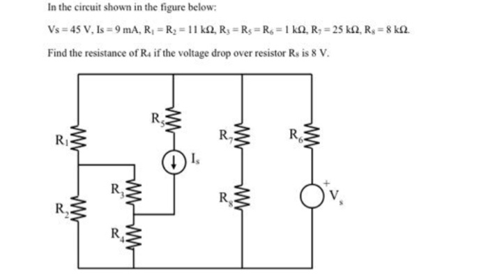 In the circuit shown in the figure below Find the resistance of Rs if the voltage drop over resistor Rs is 8 V RI