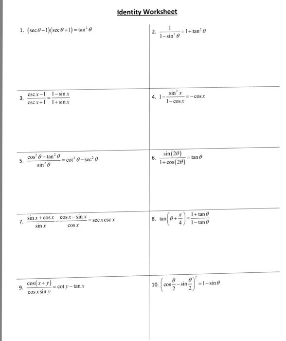 Solved Identity Worksheet 1 Sec0 1sec 1 Tan Si