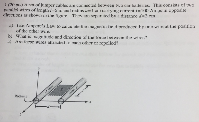 Solved: 1 (20 Pts) A Set Of Jumper Cables Are Connected Be ...