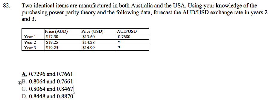 Two Identical Items Are Manufactured In Both Australia And The Usa Using Your