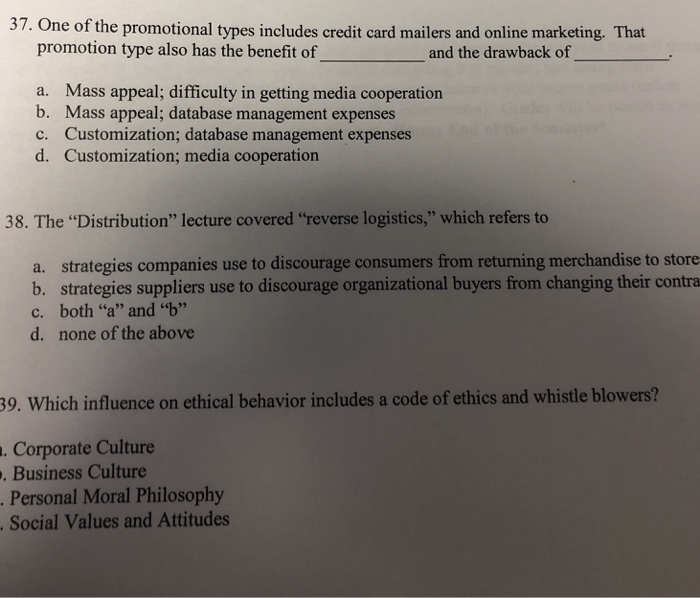 Solved: 37  One Of The Promotional Types Includes Credit C