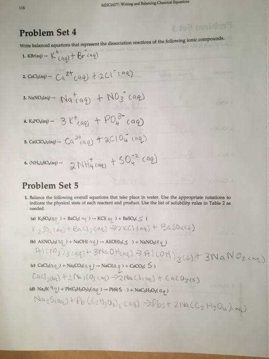 Solved: 116 MISC0477: Writing And Balancing Chemical Equat... Chegg.com