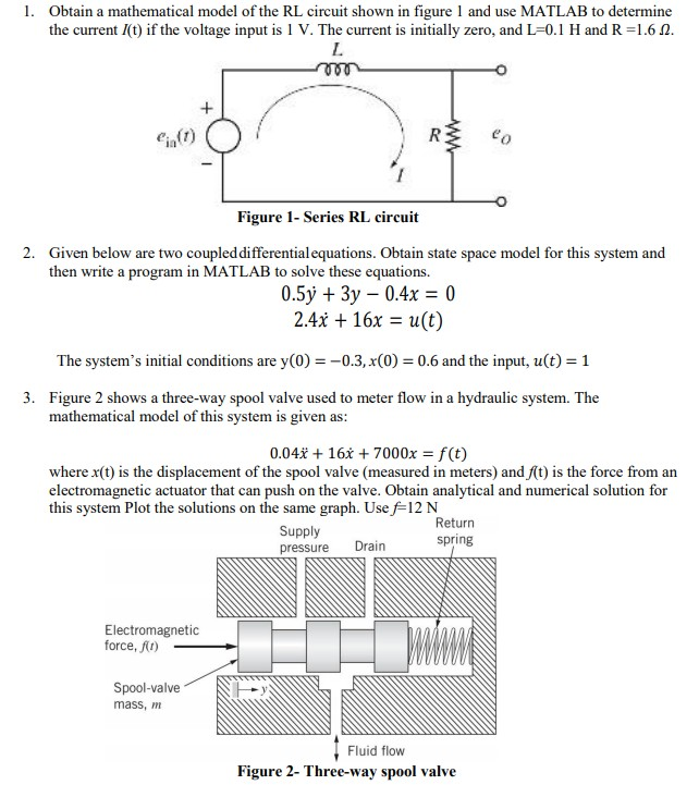 Solved: 1  Obtain A Mathematical Model Of The RL Circuit S