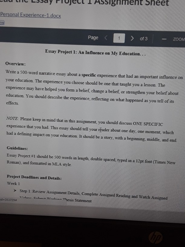 Personal Experiencedocx Page Of  Zoom Essay Pr  Cheggcom Personal Experiencedocx Page Of  Zoom Essay Project  An Influence Get Phd Online also Ghostwriting Services Definition  Academic Writers Needed