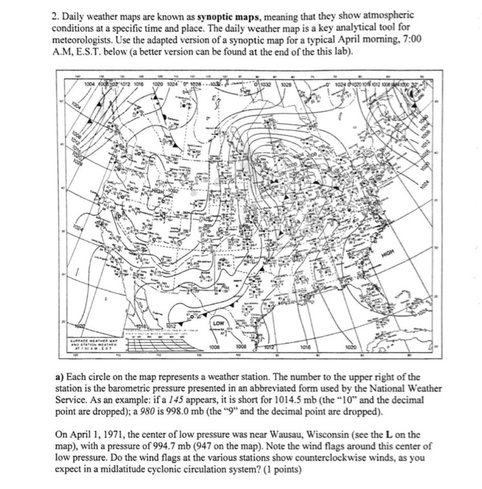 National Weather Map Pressure.Solved 2 Daily Weather Maps Are Known As Synoptic Maps