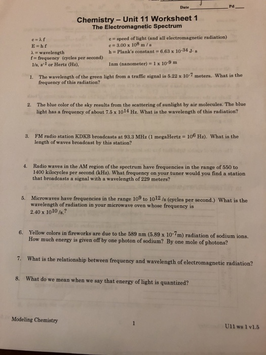 Solved: Pd Date Chemistry - Unit 11 Worksheet 1 The Electr ...
