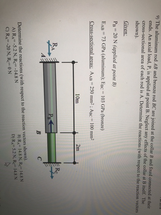 9) The aluminum rod AB and bronze rod BC are joined at the collar B and fixed connected at their ends. An axial load, P, is applied at point B. Neglect any effects of the collar at B itself. The cross-sectional area of each rod is A. Determine the reactions (with respect to the reaction vectors shown). Given Pg= 20 N (applied at point B) EAB 73 GPa (aluminum); EBC 103 GPa (bronze) Cross-sectional areas: AAB 250 mm2; ABc 100 mm2 10m 2m KA B) R,-14.8 N, Rc= 14.8 N D) RA- 5.2 N, Rc 14.8 N Determine the reactions (with respect to the reaction vectors shown). A) R,--5.2 N, Rc=-14.8 N C) R,--20 N, Rc= 0 N