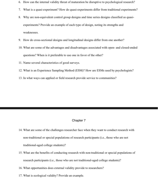 Solved 6 How Can The Internal Validity Threat Of Maturat