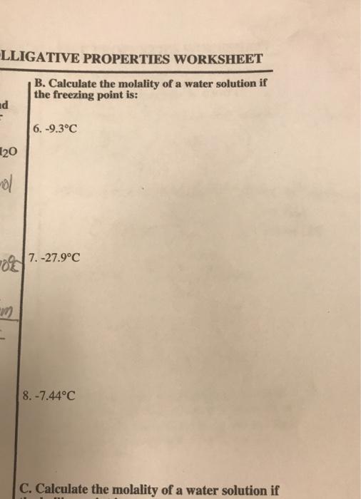 Solved Lligative Properties Worksheet B Calculate The Mo