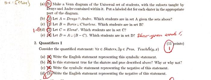 Solved B C Hv S A Make A Venn Diagram Of The Universal S