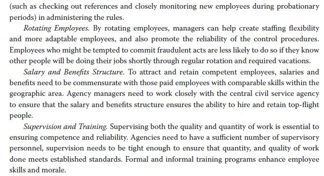 (such as checking out references and closely monitoring new employees during probationary periods) in administering the rules