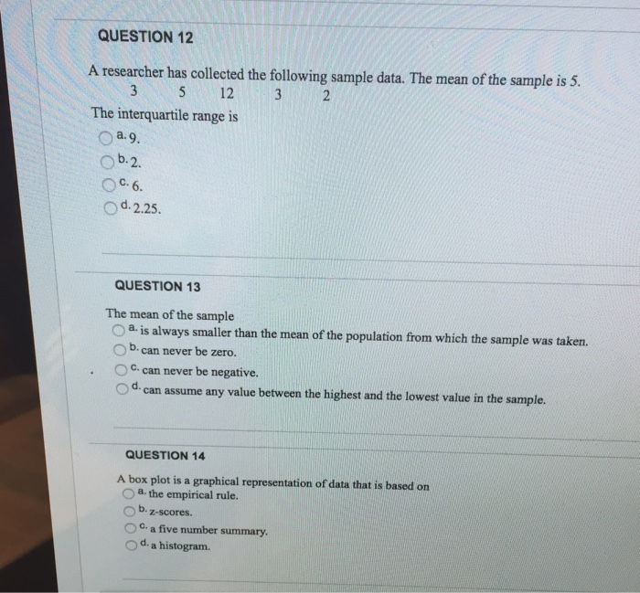solved question 12 a researcher has collected the followi rh chegg com