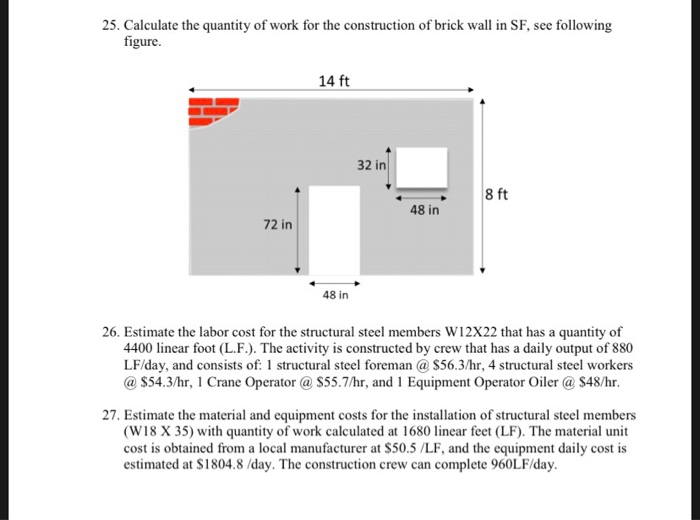 Solved: 25  Calculate The Quantity Of Work For The Constru