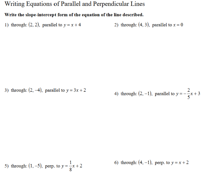 Solved Writing Equations Of Parallel And Perpendicular Li