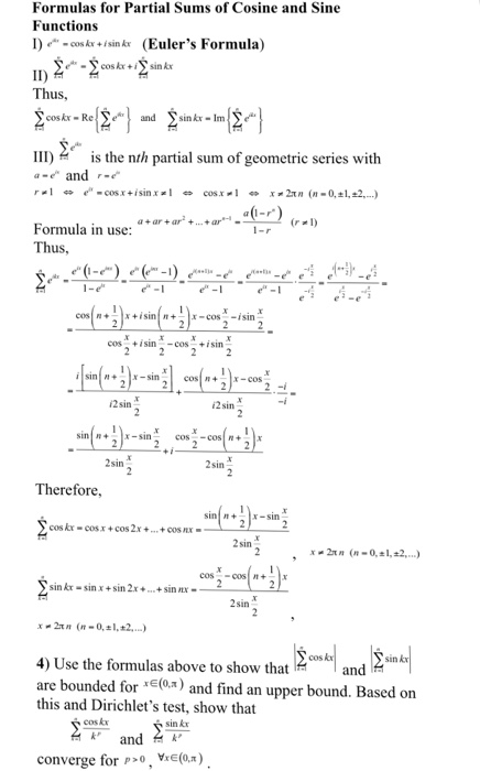 Solved: Formulas For Partial Sums Of Cosine And Sine Funct