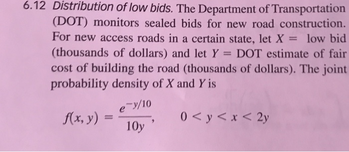 Solved: 6 12 Distribution Of Low Bids  The Department Of T